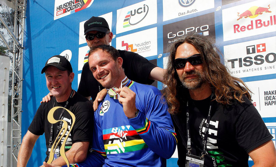 Steve Bell with Kelvin Batey Zolder Worlds 2015 - UCI