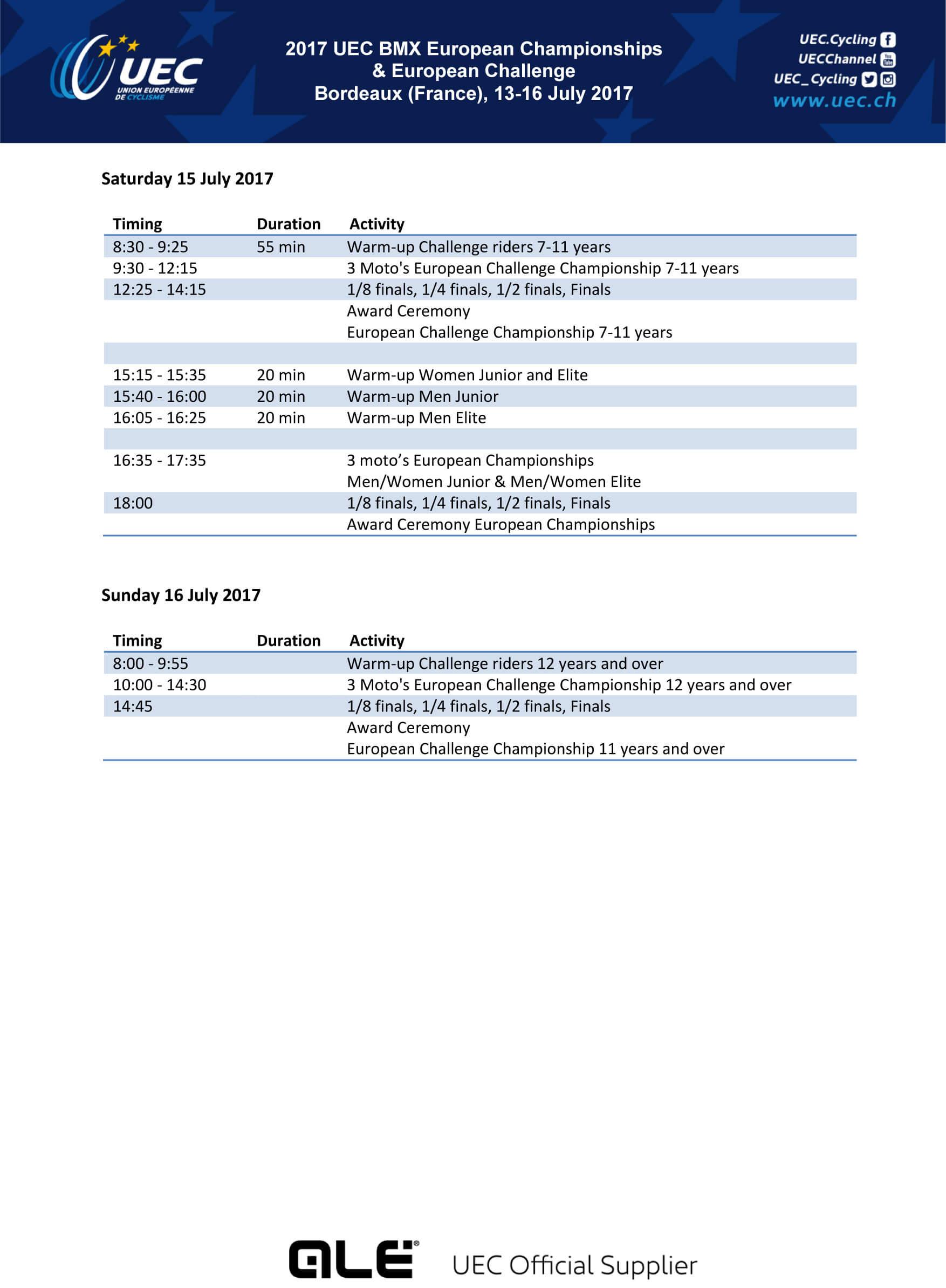 2017 BMX European Championships Schedule P2
