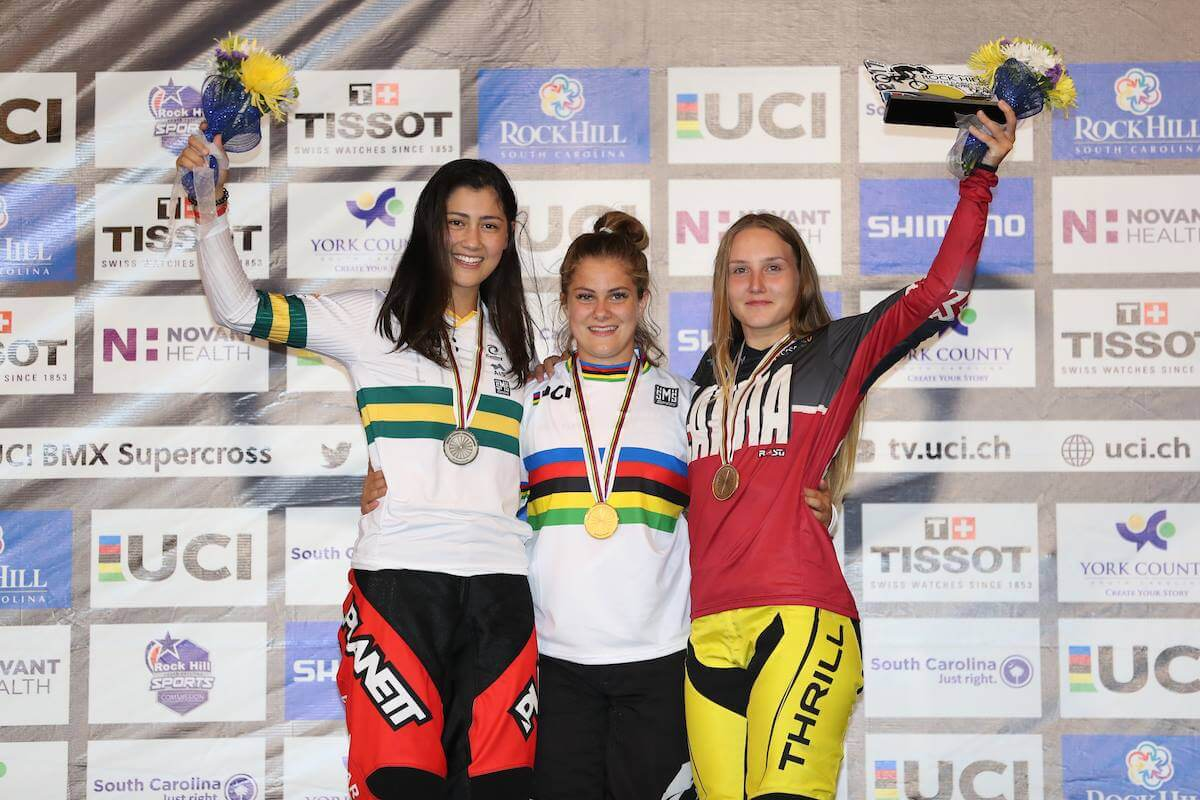 2017 UCI Worlds Jr Women Podium - SWPix UCI