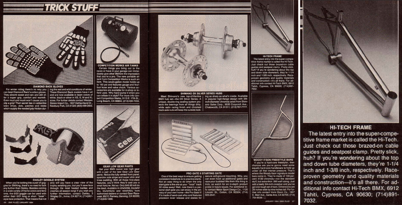 Hi Tech Frame BMX Plus Magazine January 1984