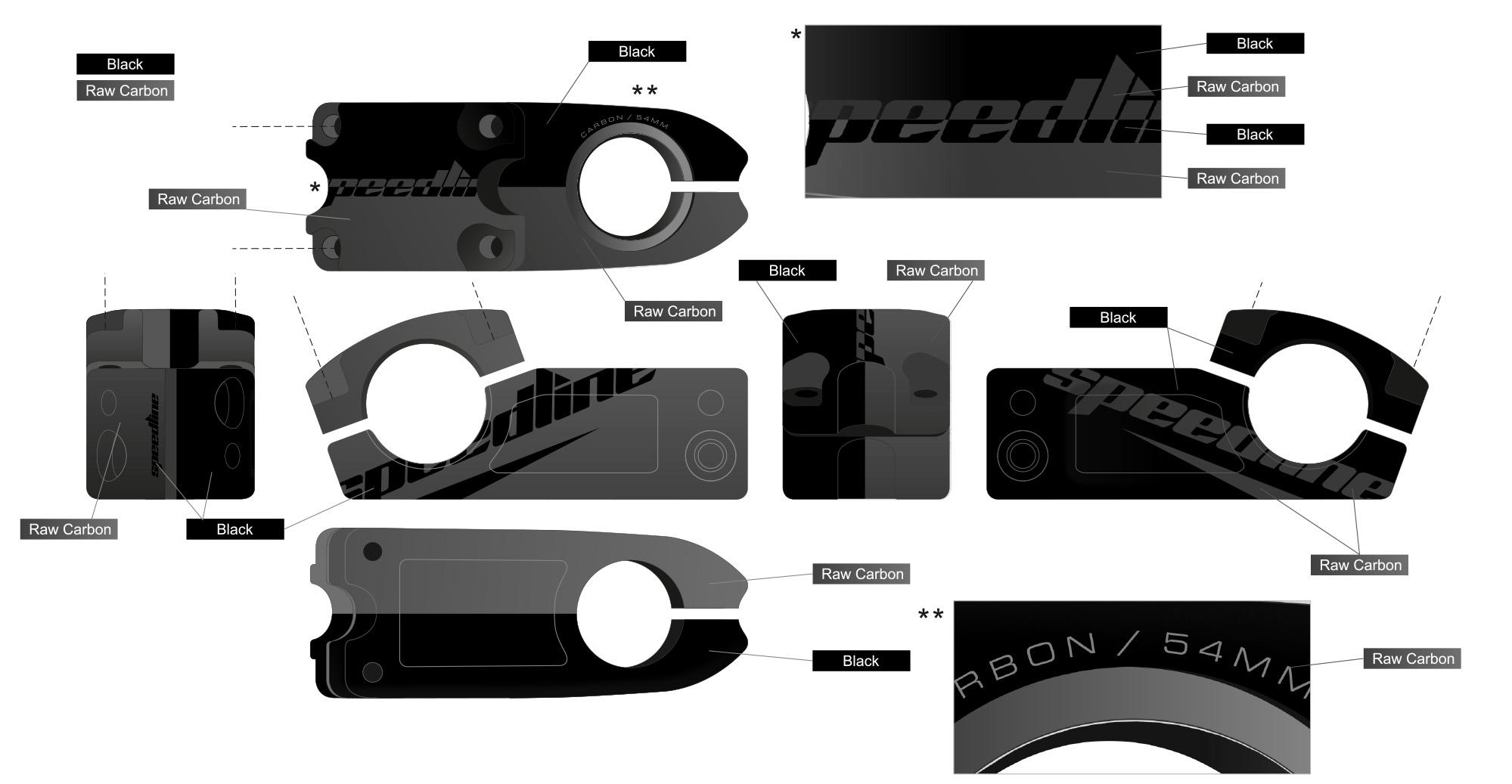 Speedline Matrix Stem Graphics - Raw Carbon Black
