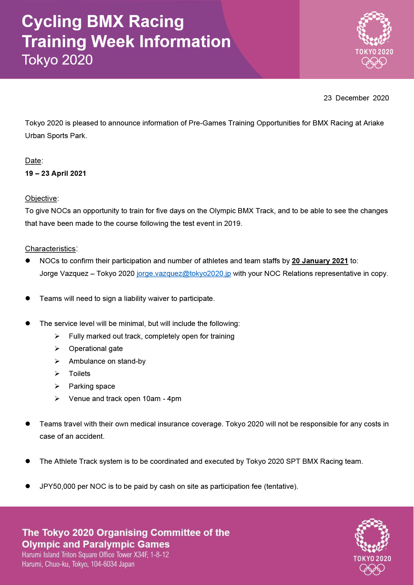 Tokyo 2020 - Cycling BMX Racing Traning Week Information as of 23 December 2020 P1