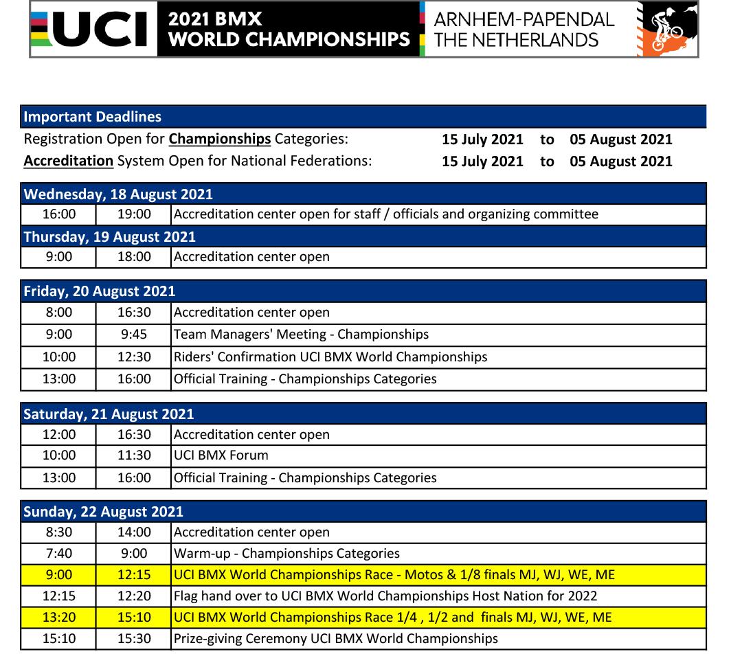2021 BMX World Championship Schedule